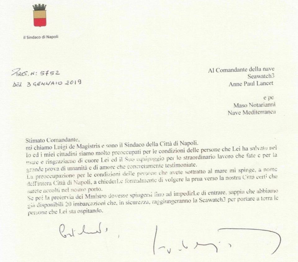 La lettera di De Magistris